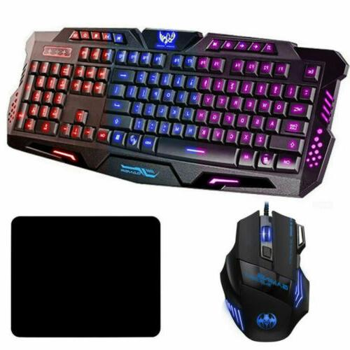 led gaming keyboard and mouse set mechanical