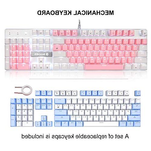 Mechanical Gaming Keyboard,SADES Gaming Keyboard USB Mechanical Feel with Keys Character Blue Switches for for PC Gamer(White Pink)