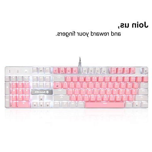 Mechanical Gaming Keyboard,SADES Keyboard Keyboards Mechanical Feel with Keys Character Illuminated Switches for Gamer(White Pink)