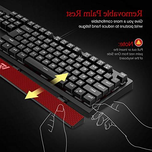 VicTsing RED Backlit Mechanical Gaming Keyboards Rest, Ergonomic, Red Waterproof Mac