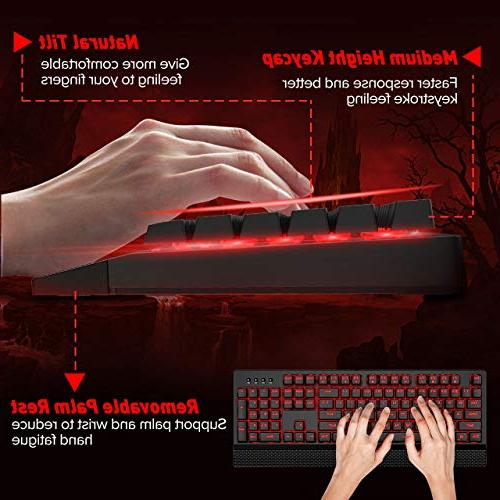 Mechanical Gaming Keyboards with Removable Rest, Switch, Waterproof Mac