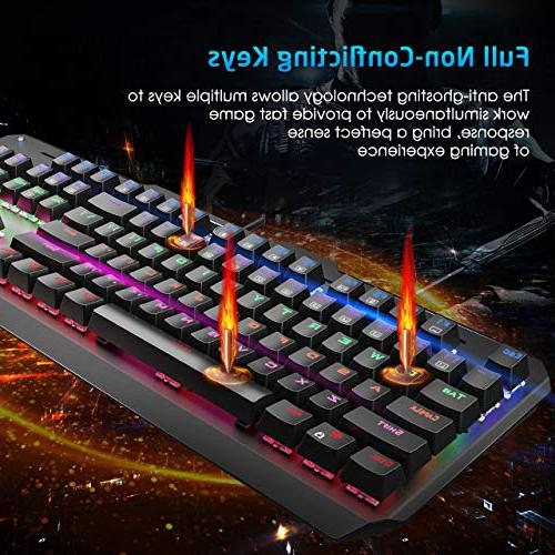 VicTsing Gaming Keyboard USB Wired All-Key Anti-Ghosting Blue Keyboard for Computer