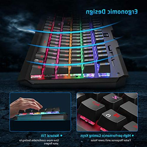VicTsing Gaming Keyboard USB Wired Anti-Ghosting with Blue Switches, Water-Resistant Keyboard for Laptop Computer