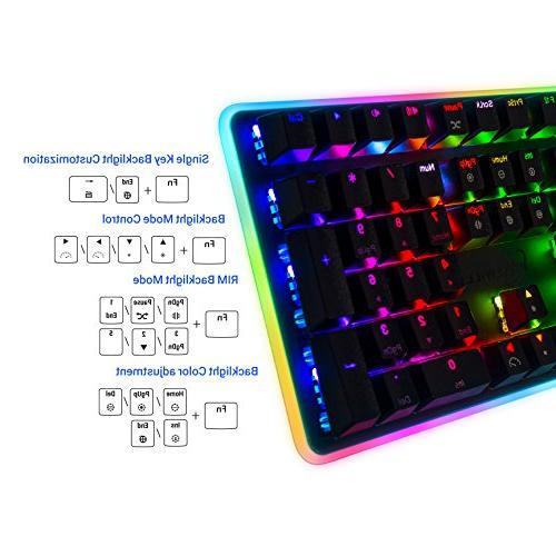 Rosewill Gaming Keyboard, RGB LED Computer Mechanical for Laptop, Software Professional Gaming Brown