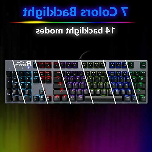 Mechanical with Programmable Macro, Million Backlit Mechanical Gaming with Blue Switches 14 LED Modes 104 Anti-Ghost Keys Non-Fading UV Coating