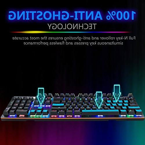 Mechanical Macro, Million Backlit Mechanical Gaming with Switches LED Modes Anti-Ghost Keys Non-Fading Coating