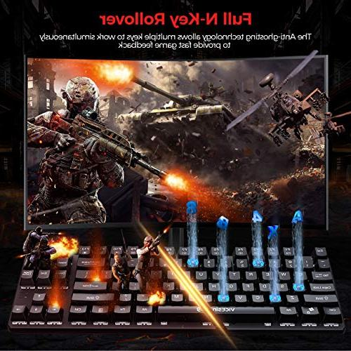 VicTsing Mechanical Keyboard with Wired Keyboard with USB Cable, Waterproof Keyboard for Computer, PC