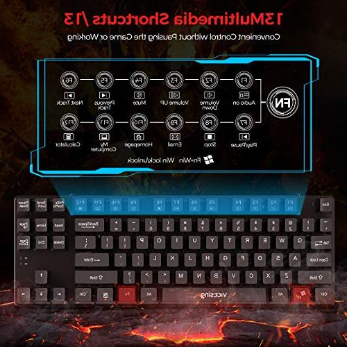 VicTsing Mechanical Gaming Keyboard with Wired Keyboard with USB 87-Key Waterproof PC and Laptop, Black