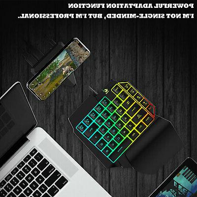 Mini Keyboard RGB LED Backlit USB Wired Game 35 Accessory