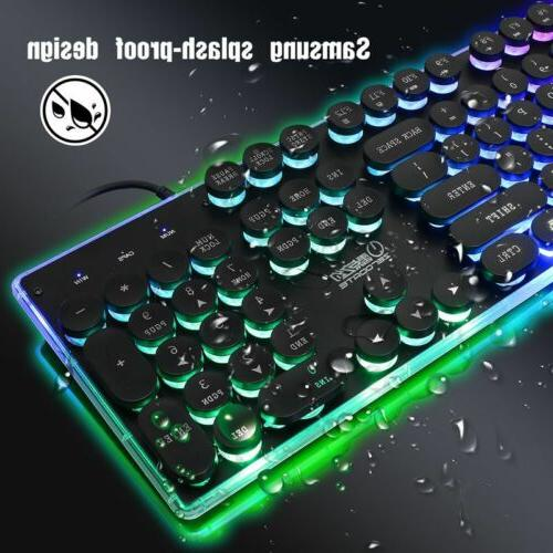Mechanical Wired and Mouse Set Colorful Backlight For PC