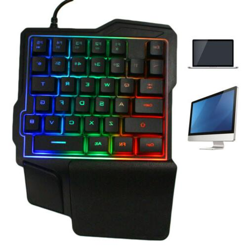 mini one handed gaming keyboard rgb led