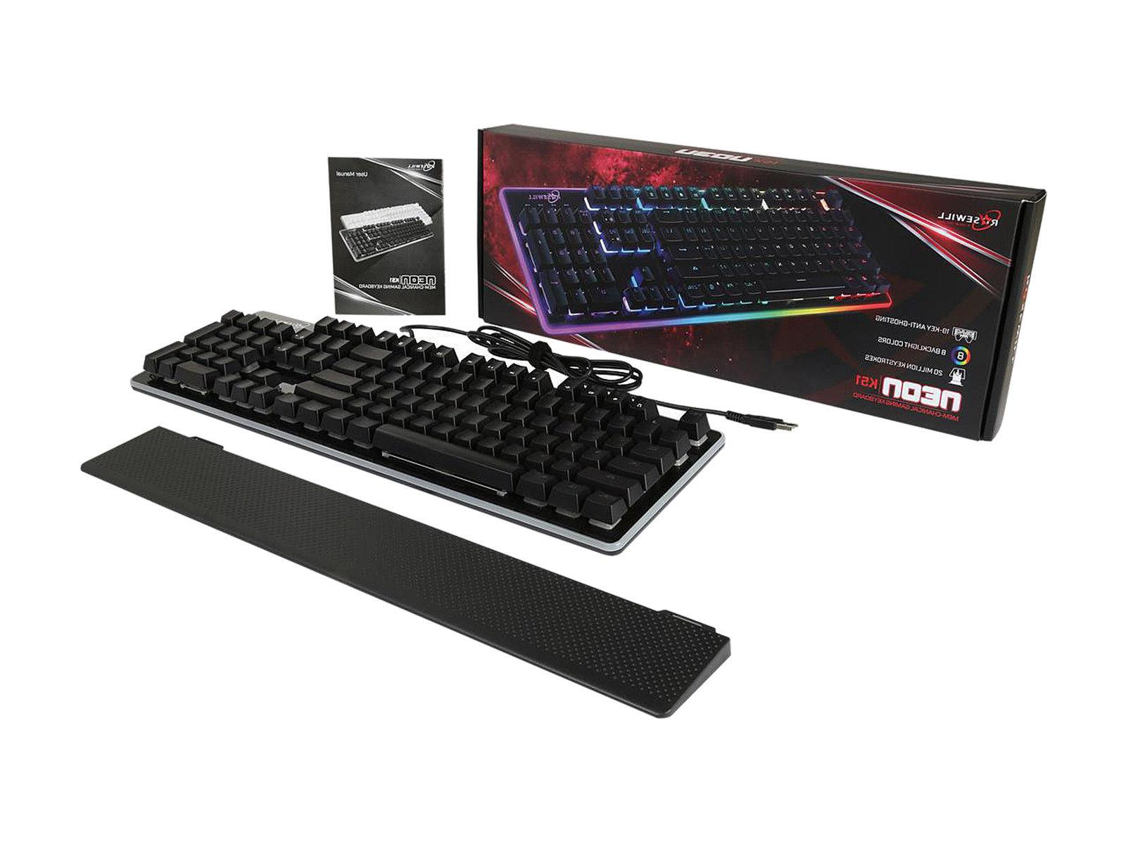 ROSEWILL NEON K51B Keyboard, LED Wired