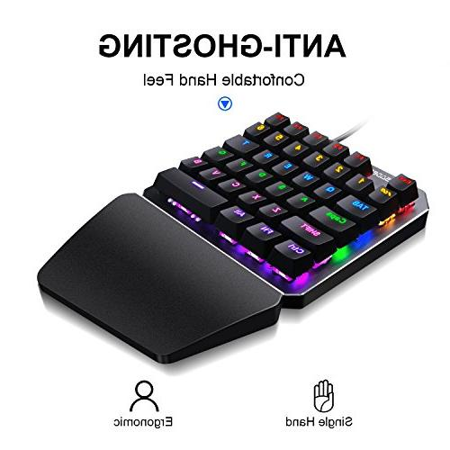 One Handed keyboard Mechanical Gaming LED Backlit Portable Mini Gaming for LOL/PUBG/Fortnite/WOW/DOTA/OW