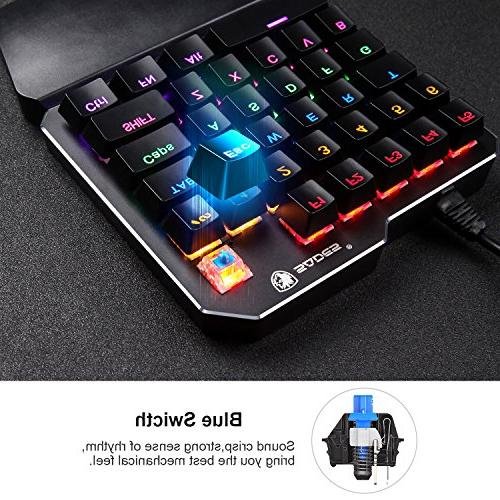 One Handed keyboard LED SADES Portable Mini Gaming Keypad for LOL/PUBG/Fortnite/WOW/DOTA/OW