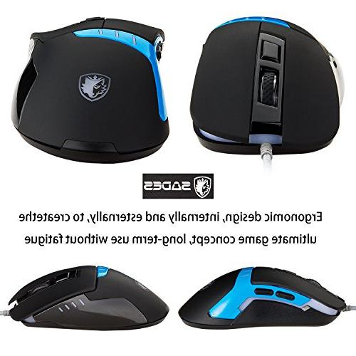 SADES Q9 Gaming 3200 Wired PC Mice, 6 Buttons