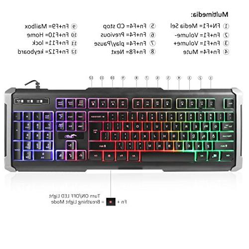 BAKTH LED Mechanical Feeling Gaming and Combo, Wired Keyboard with 4000 Game Office