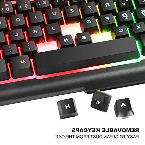 BAKTH Rainbow LED Backlit Mechanical Feeling Gaming and USB Wired Keyboard and with 4000 Game or Large Mouse