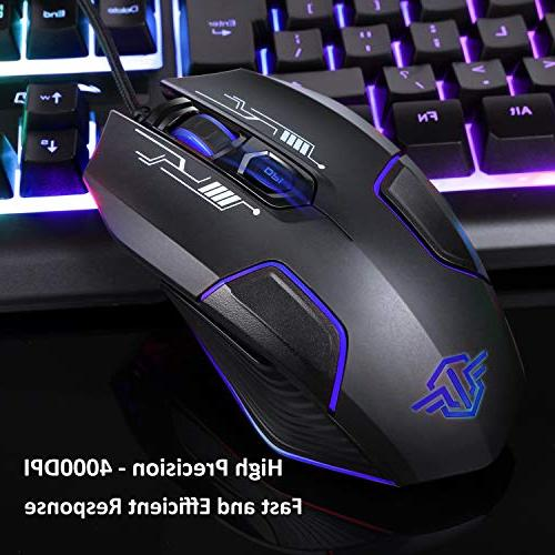 BAKTH Rainbow LED Mechanical Feeling Gaming and Mouse Combo, Wired Keyboard with 4000 Game Office Large