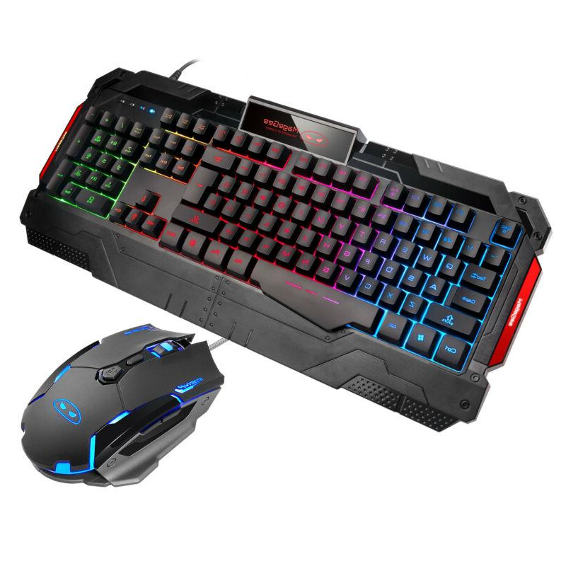 rainbow gaming keyboard and mouse set multi