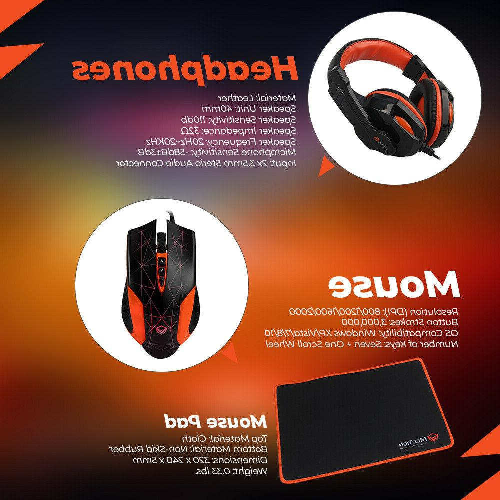 MeeTion Gaming Mouse, Pad, and Headset Combo 4 1