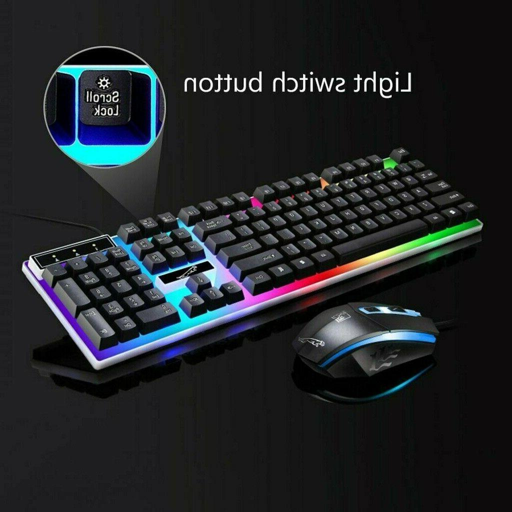 Rainbow Gaming Keyboard Mouse Set USB LED Wired For PC Lapto