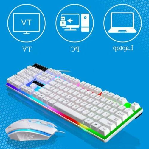 Pro Gaming Wired Keyboard Mouse Backlit Up