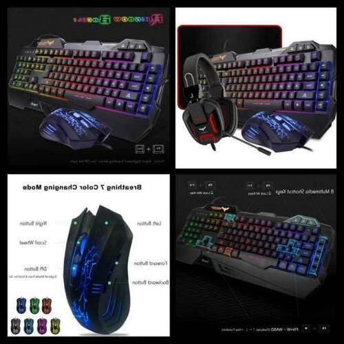 Rainbow LED Backlit Gaming Keyboard Mouse Over Ear Headset M