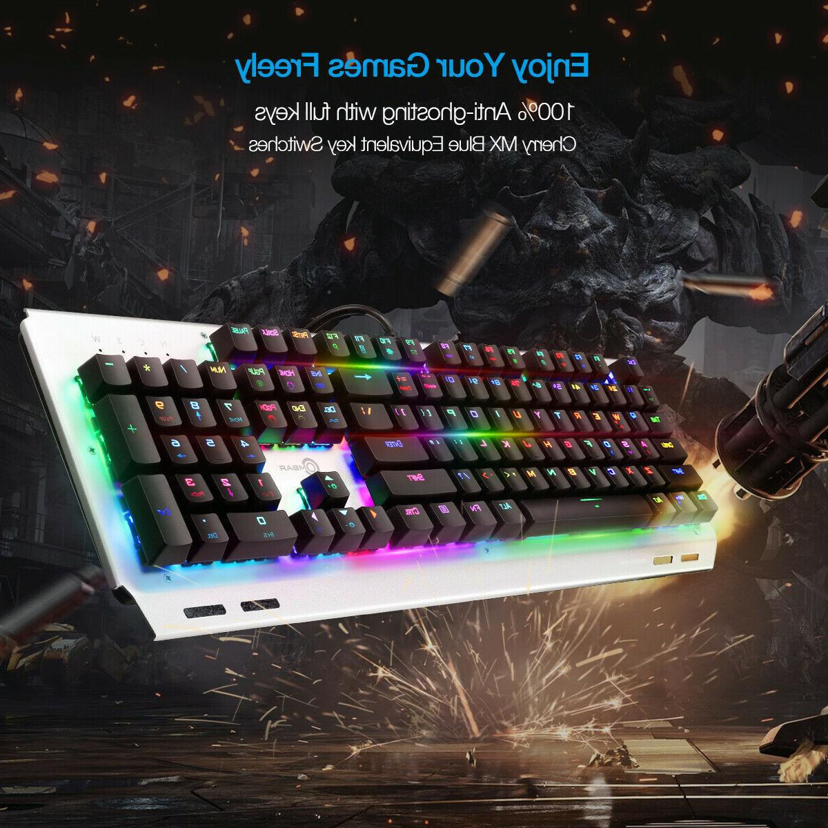 RGB Gaming Keyboard Ergonomic with Blue Switches US