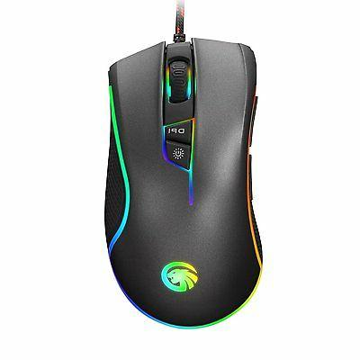 HIRALIY F300 RGB Backlit Wired Gaming Mouse 9 Programmable B