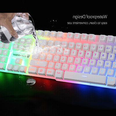 RGB Gaming Keyboard LED Backlit PC Mechanical Feeling Wired