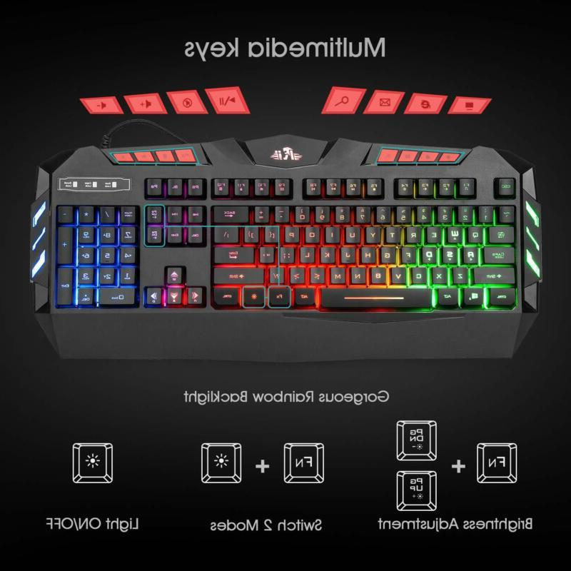 Rii Led Wired Gaming Keyboard And Mouse Combo,Pc R
