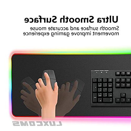 LUXCOMS Mouse Pad Glowing Led ,Non-Slip Rubber Keyboard Mat,31.5X