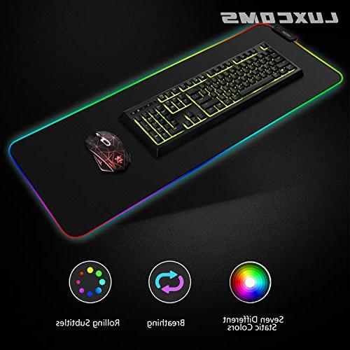 LUXCOMS RGB Mouse Large, Glowing ,Non-Slip Rubber Keyboard