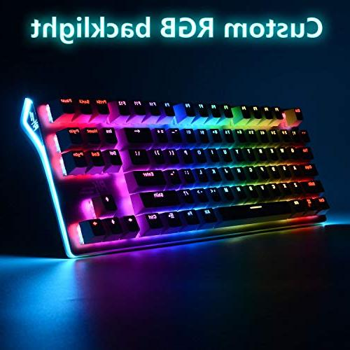 RGB Keyboard RGB Backlit Wireless Bluetooth 3.0 Multi-Media Mechanical Gaming for PC/Mac/iPad/iPhone/Smartphone/Laptop (Rechargeable Brown