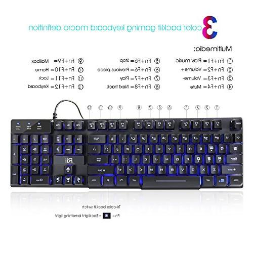 Rii RK100 3 USB Wired Multimedia Keyboard For working gaming