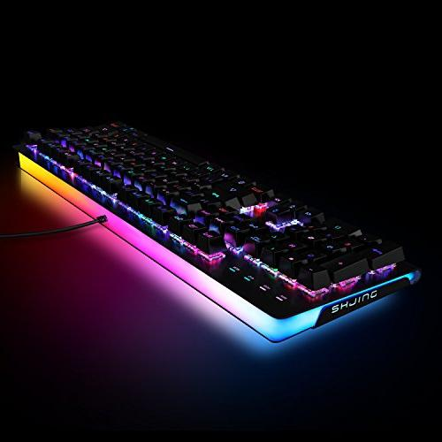 ET Gaming Keyboard Color LED Backlit and Exclusive with MX Blue Switches Wired