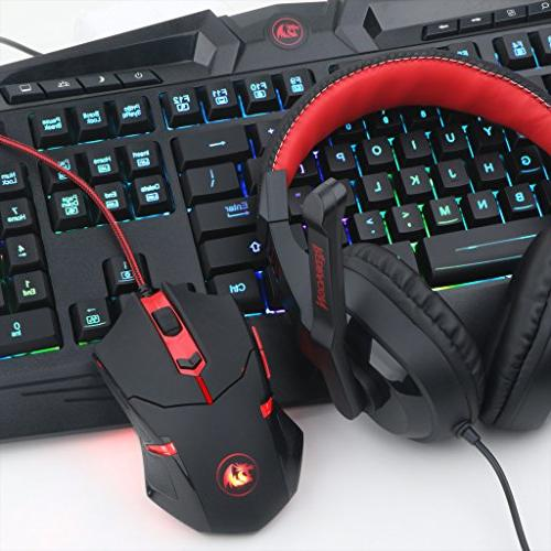 Redragon S101-BA Keyboard, Headset with Mouse LED Keys USB Wired Ergonomic Wrist Rest Keyboard for PC