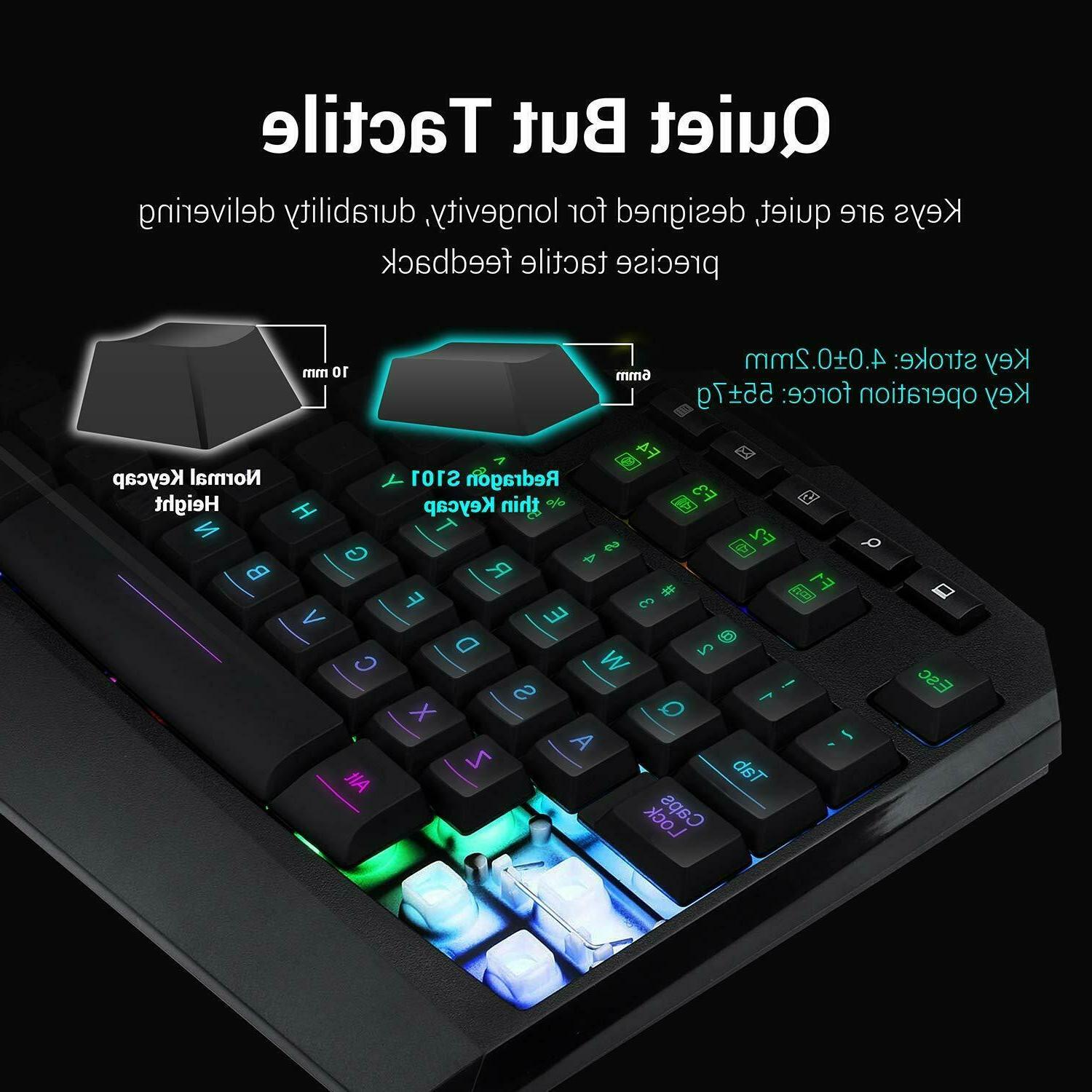 Redragon Keyboard and Mouse Combo, LED 104 Wrist