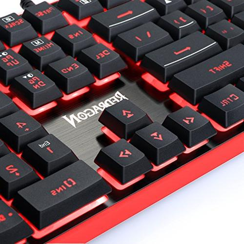 Redragon Keyboard, Mouse, Mouse Feel LED Keyboard, 3200 DPI Large Pad for Computer Games