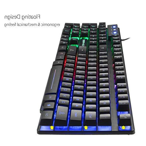 HAHAP Keyboard Mouse ComboT6 Rainbow USB and Mouse for PC Laptop