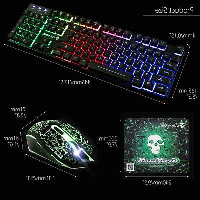 US Backlight Gaming Keyboard & Mouse USB Wired Black