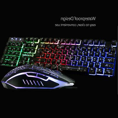 US T6 LED Backlight Keyboard Mouse & Mouse USB Wired