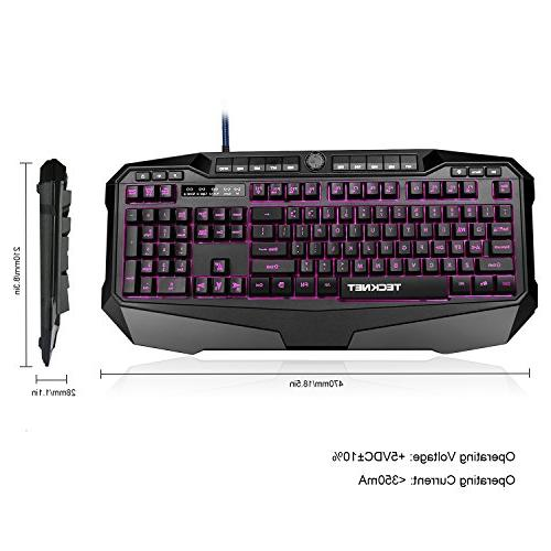 TeckNet Gryphon Programmable Keyboard with Water-Resistant Design, Layout