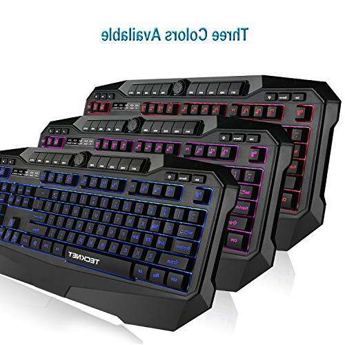 TeckNet Illuminated Programmable Gaming and Mouse set, Design,