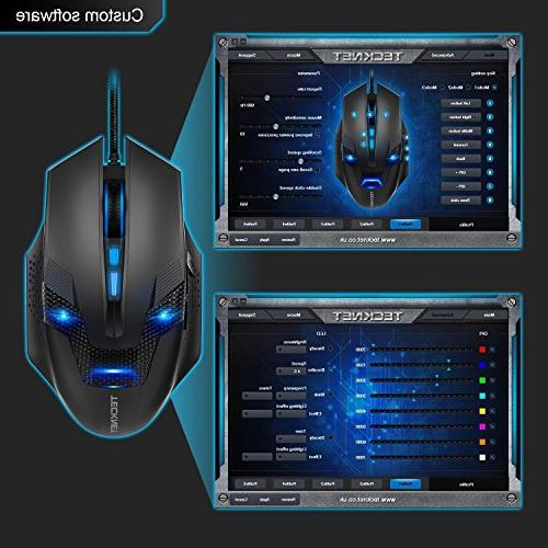 Tecknet Professional Wired Computer Gaming Mouse, 7000DPI, Levels, - Black