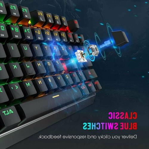 VictSing TKL Mechanical Keyboard with Metal Wired Backlit