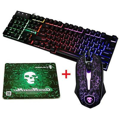 US T6 Rainbow Backlight Mouse & Pad USB Wired Black