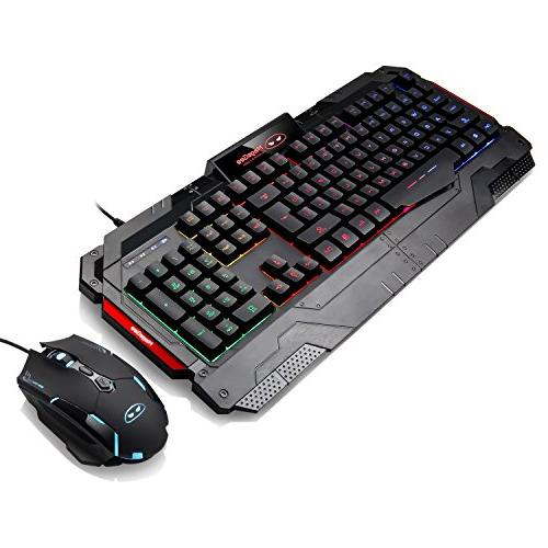 USB Gaming Mouse Gaming Keyboard Combo, Rainbow Backlit Mouse Mouse Key Computer PC Keyboard with Wrist Rest-Black