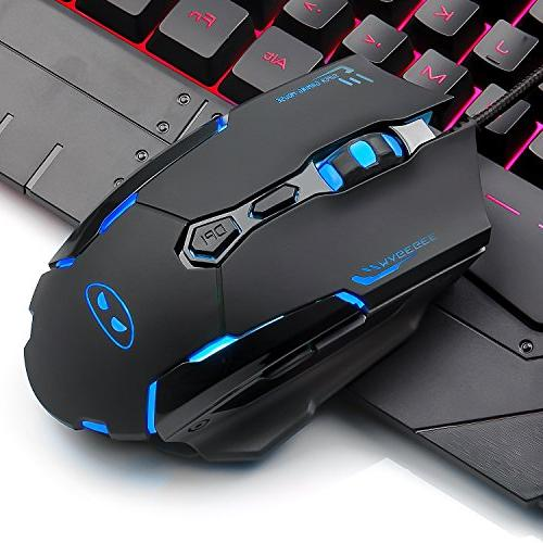USB Mouse Keyboard LED Rainbow Backlit and Mouse Mouse Key Computer Gaming Keyboard with Wrist