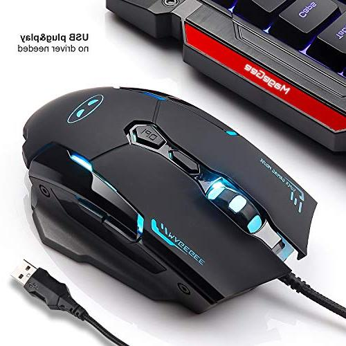 USB Gaming Mouse Keyboard Rainbow Backlit Mouse Set, Mouse and Keyboard 104 Key Computer PC Keyboard with Rest-Black